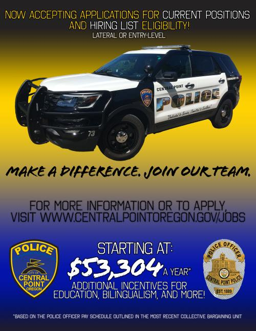 Join the Team | Central Point Oregon Police Officer Job Application Form In Oregon on police officer benefits, police officer home, police job application printable, police officer job requirements, police officer job information, police officer departments, police officer contact, police officer job description, police officer mission statement, police officer job cover letter, police officer code of conduct, police officer complaint form, police officer survey, police officer careers, police officer internships, police officer letters of recommendation, police officer job openings, police officer service, police officer job resume, police officer interview,